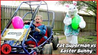 Fat Superman vs Easter Bunny Giant Surprise Egg Go Kart Chase Superhero Kids