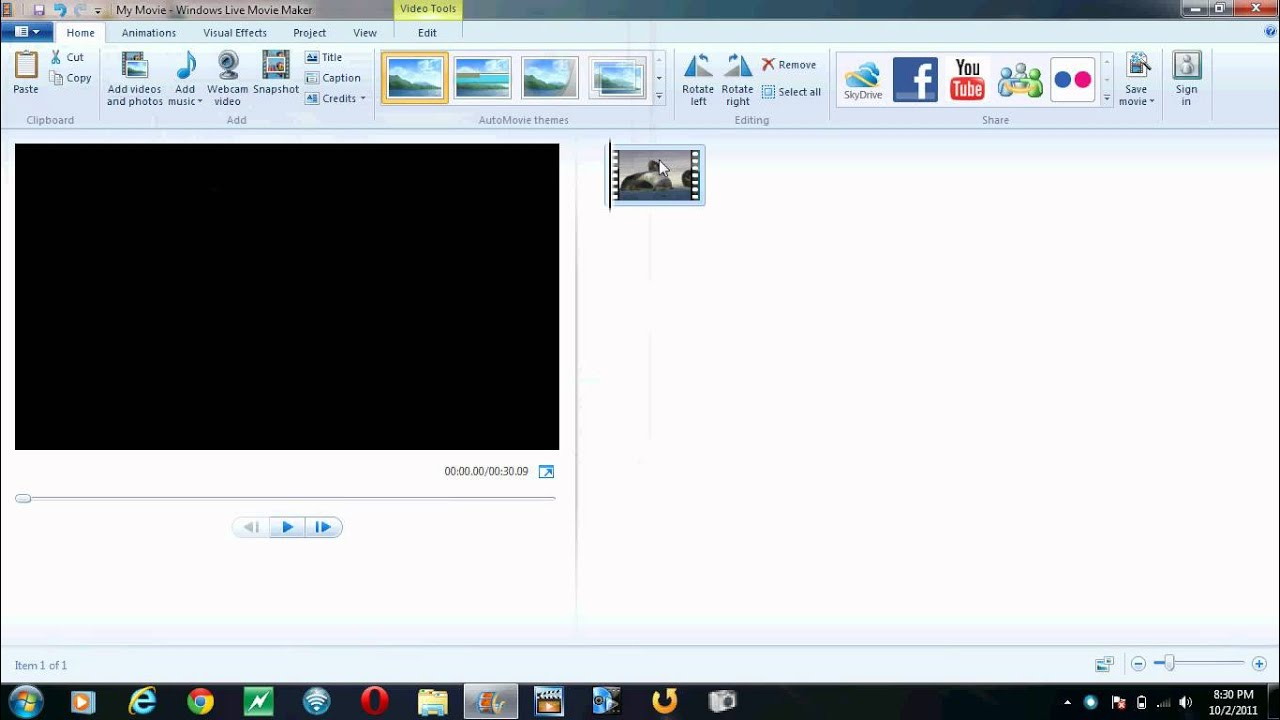muting the audio from a video with windows live movie