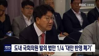 도내 국회의원 발의 법안 1/4 '대안 반영 폐기'