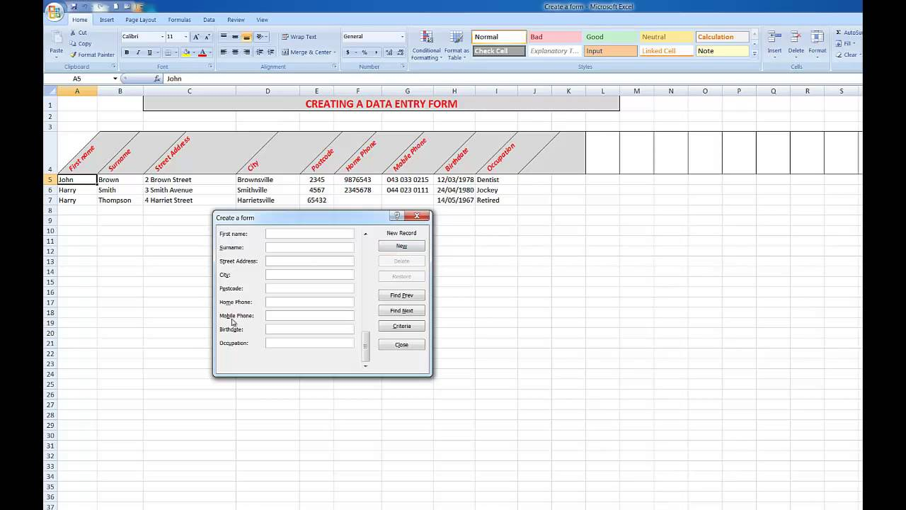 how to create a data input form in excel your online classroom in bite size chunks youtube. Black Bedroom Furniture Sets. Home Design Ideas