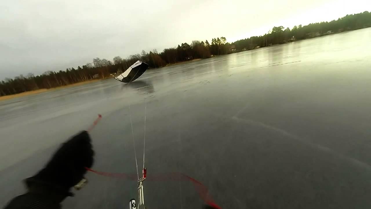 Kite skiing crash on a thin ice