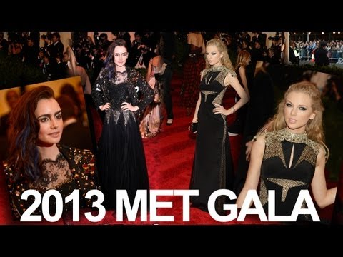 Taylor Swift & Lily Collins Rocker Chic 2013 Met Gala