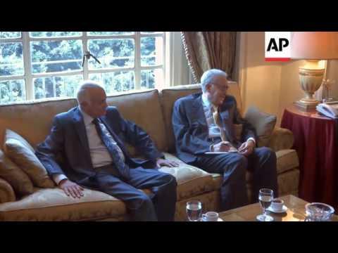 Arab League head meets UN Syria envoy Brahimi and Qatar FM
