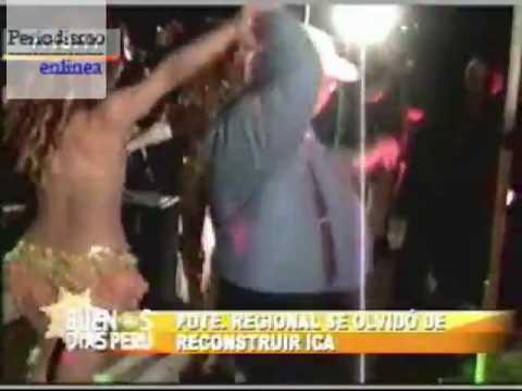 El colmo, Presidente regional de Ica celebra con vedettes y reconstrucción no avanza