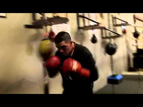Brandon Rios hits the double end bag while training in Oxnard, California Image 1