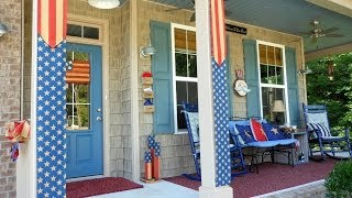 Patriotic Porch Decorating with Burlap