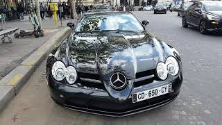 black Mercedes Benz SLR McLaren 626 ch in PAris France