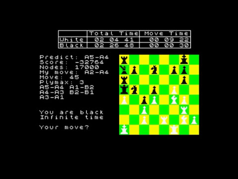 ZX SPECTRUM CLOCK CHESS PLAYS WHITE
