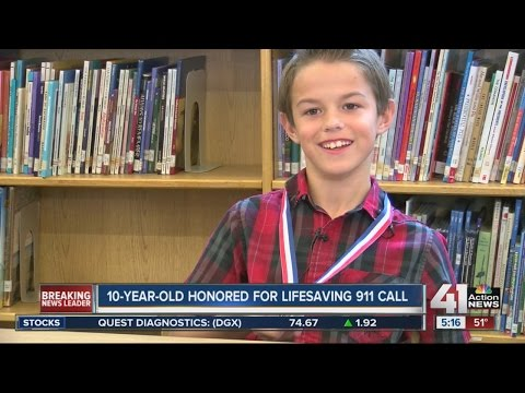 10-year-old honored for lifesaving 911 call