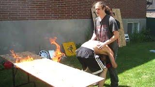 Flaming Table Match - Bruiser & Exile VS Innovator {Tag Team Tournament} CHW Backyard Wrestling