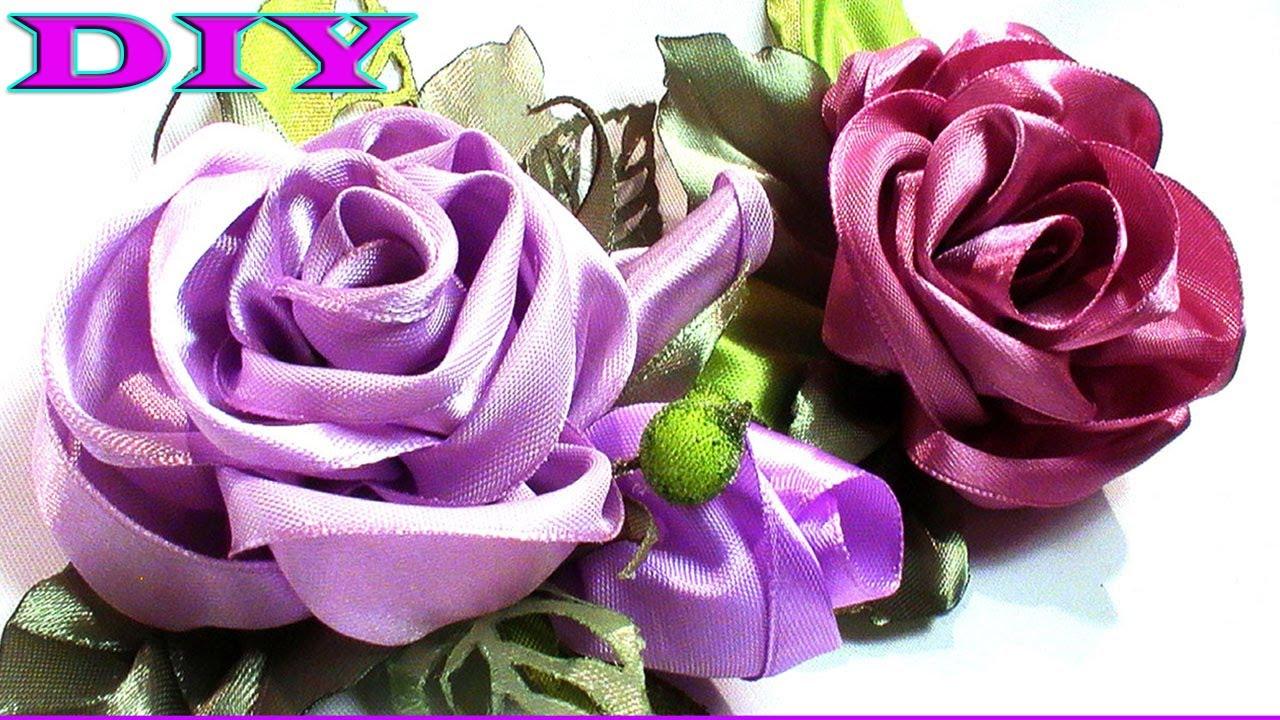 DIY kanzashi flower, kanzashi rose, how to make ribbon rose - YouTube