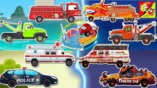 Construction Vehicles Names - Excavator, Backhoe Loader, police car ,fire truck l Ver 06