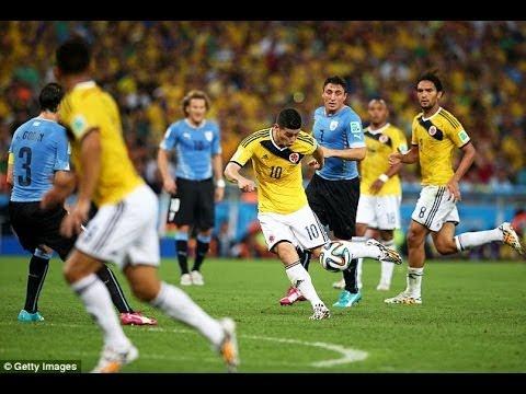 JAMES RODRIGUEZ 2 goals vs Uruguay in World Cup 2014