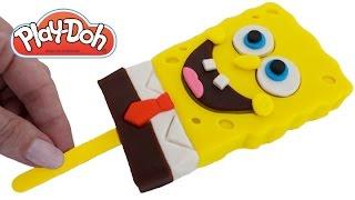 Play Doh How to Make a Spongebob Squarepants Ice Cream Popsicle DIY RainbowLearning