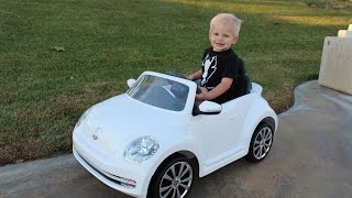 VW Bug Ride-On Car & Lightning McQueen Power Wheels Race