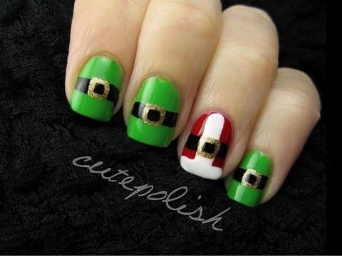 Santa and Elf Suit Nails