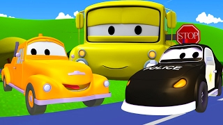Tom The Tow Truck and Matt the police car in Car City | Cars & Trucks construction cartoon