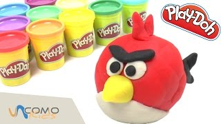 Hacer Angry Bird con plastilina Play-Doh