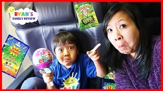 Kid on the Airplane Sour Candy and Surprise Toys Pikmi Pop Opening with Ryan's Family Review
