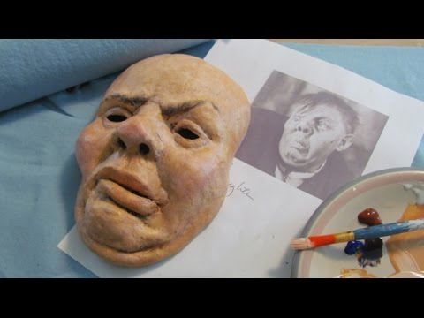 Paper mache halloween portrait mask youtube for How to make a sculpture out of paper mache
