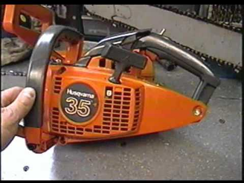 Husqvarna 35 Chainsaw Start Up & Test Cut