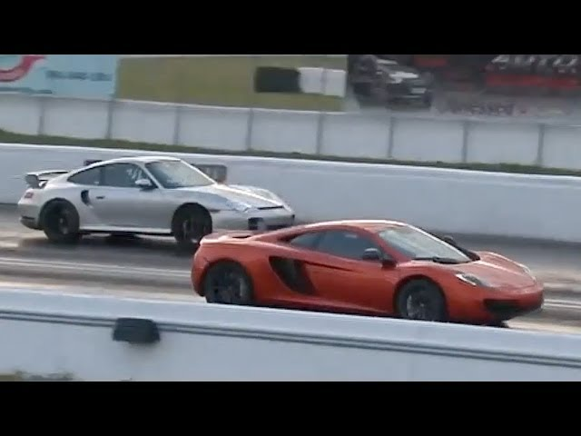 McLaren MP4-12C vs 1,000+ HP Porsche 911 GT2 Drag Racing 1/4 Mile