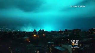 Mysterious Blue Light Over Lit Up New York City Skyline