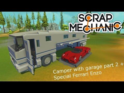 Scrap Mechanic Camper with garage (Part 2) + Special Ferrari Enzo