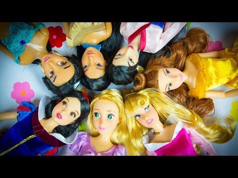 Disney Princess Aurora Rapunzel Snow White Belle Pocahontas Mulan & Jasmine Unboxing!