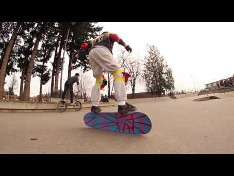 Kaelen Faux Skates the  Big Rip  Deck at Abbotsford Skate Park
