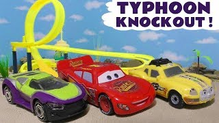 Cars McQueen Typhoon knockout race with the funny Funlings and Hot Wheels superhero cars TT4U