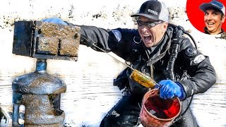 ACID Leaking into Lake Found and Removed while Underwater Treasure Hunting! (Scuba Diving)