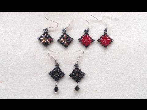 Beading4perfectionists: Superduo diamond / square shaped earrings beading tutorial