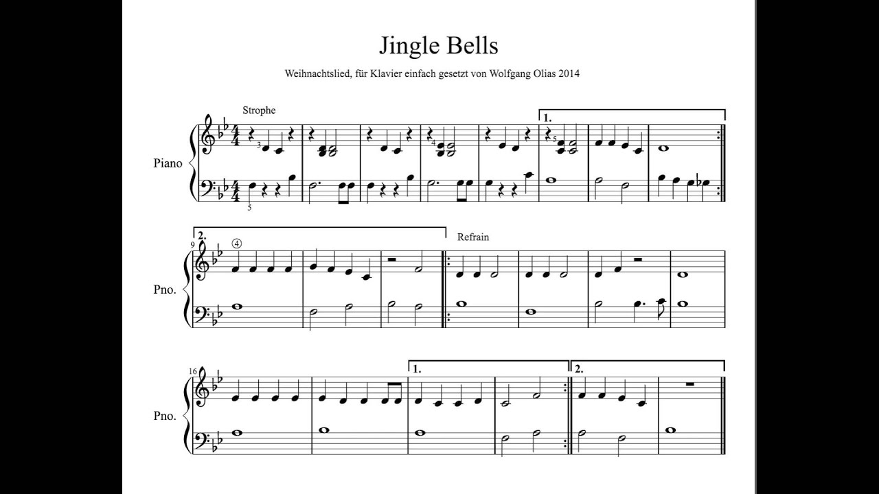 jingle bells christmas carol piano easy free sheet music. Black Bedroom Furniture Sets. Home Design Ideas