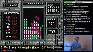 NES TETRIS - First Ever Level 31 (311 Lines WR) - 9/24/2018