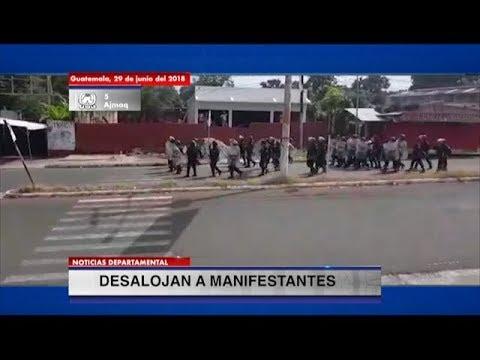 Antimotines desalojan a personas que bloqueaban carretera de Coatepeque, Quetzaltenango   29Jun