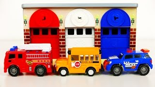 Fire Truck Police Car Emergency Vehicles and School Bus Garage Playset for Kids