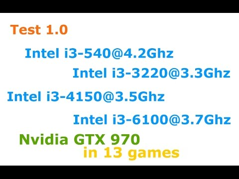 Intel i3-540 vs i3-3220 vs i3-4150 vs i3-6100 + GTX 970 Low-Ultra settings 1080p in 13 games