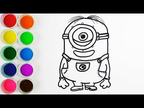 Cómo Dibujar y Colorear Minions - Dibujos Para Niños - Learn Colors ...