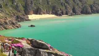 Porthcurno Beach and The Minack Theatre in Cornwall England on A Perfect Day