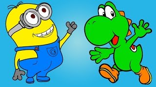 Learn Colors for Kids & Minions Yoshi Coloring Pages