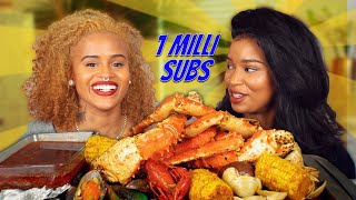 ONE MILLION SUBSCRIBERS KING CRAB SEAFOOD BOIL MUKBANG GIVEAWAY
