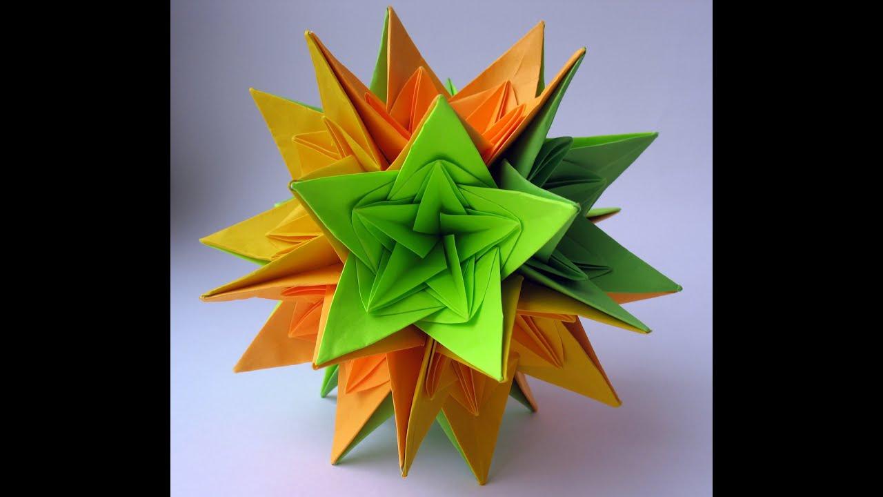video origami Krivyakina Irina Origami Yakomoga   Kusudama  Nordblumen  kusudama by Origami