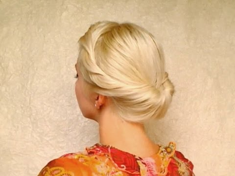 Wedding hairstyles for medium long hair tutorial Prom updo Gibson tuck roll for shoulder length