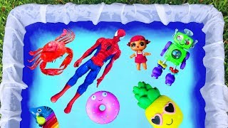 Learn Colors with Toys For Kids - Blue Pool For Children - Toys LOL Dolls Spiderman and Pj Masks