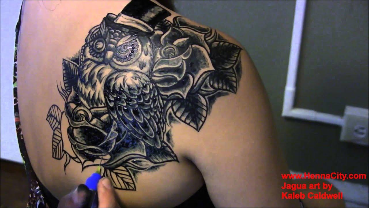Jagua tattoo owl jagua shading henna city youtube