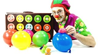 Videos for children. Funny Clown, balloons and dinos.