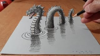 3D Drawing Loch Ness Monster - Trick Art Dragon on Paper - How to Draw Monster
