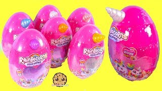 Giant Eggs with Unicorn Horns ! Rainbocorns Surprise Blind Bag Plush Toy Video