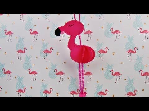 Basteln: 3D Flamingo Anhänger / DIY / Basteln mit Papier / Deko selber machen